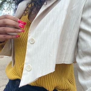 cropped pinstripe creme blazer